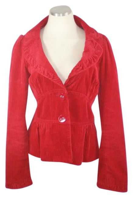 Elevenses Victorian Anthropologie Fit And Flare Red Jacket
