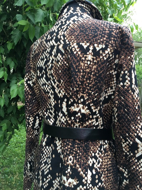 Michael Kors Double Breasted Animal Print Trench Coat