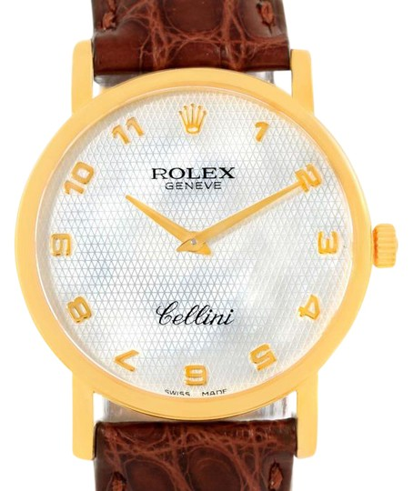 Preload https://img-static.tradesy.com/item/21293865/rolex-pearl-cellini-classic-yellow-gold-mother-of-brown-strap-51-watch-0-1-540-540.jpg