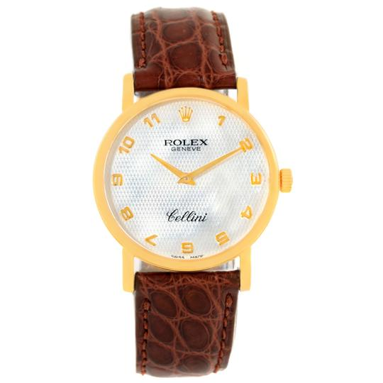 Rolex Rolex Cellini Classic Yellow Gold Mother of Pearl Brown Strap Watch 51