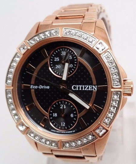 Citizen ECO-DRIVE WATCH for WOMEN Crystal Rose Gold Tone FD3003-58E Fits 6.4
