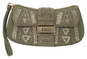 Dior Beaded Wristlet Silk Olive Green Clutch