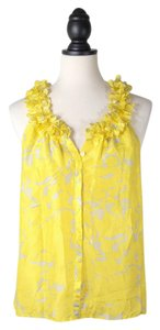 J.Crew Silk Floral Print Sleeveless Top YELLOW