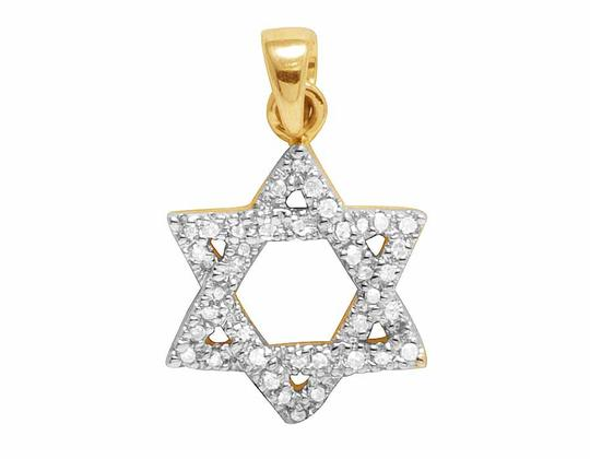 Other 14K Yellow Gold Real Diamond Star Of David Pendant 1/6 CT 0.75