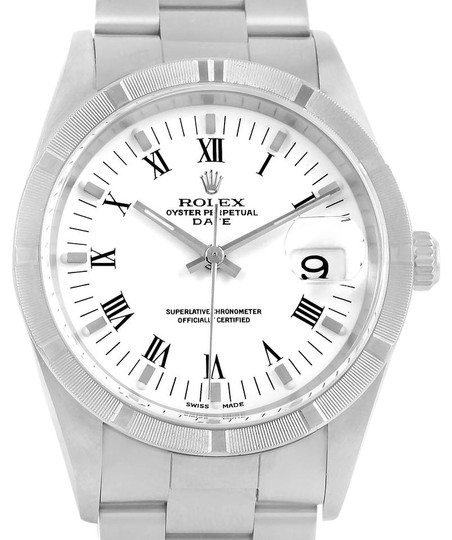 Rolex Rolex Date White Dial Stainless Steel Mens Watch 15210