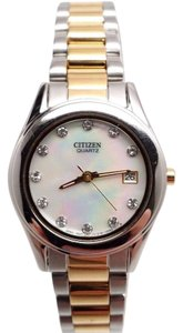Ladies C itizen Two Toned Swarovski Pearl White Dial 26mm Watch EU2664-59D