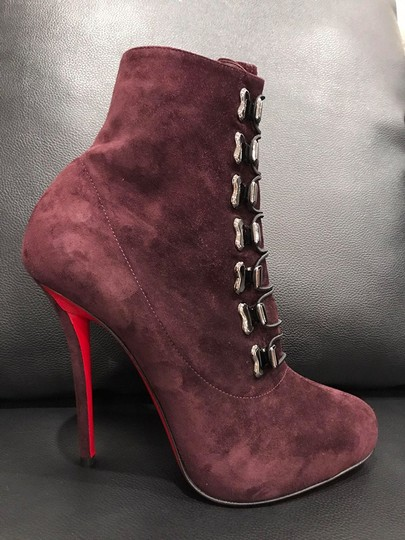 Christian Louboutin Troopista Stiletto Cramoisi Suede wine Boots