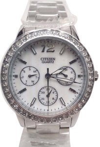 Citizen White Dial Stainless Steel Swarovski Crystal Ladies Watch ED809053D