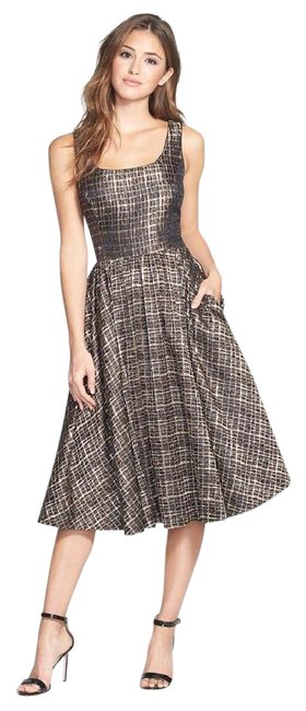 Preload https://item1.tradesy.com/images/donna-morgan-bronze-metallic-jacquard-midi-fit-and-flare-mid-length-cocktail-dress-size-6-s-21294180-0-1.jpg?width=400&height=650