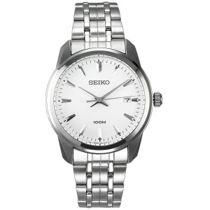 Seiko Me n's SGEF99P1 White Dial Stainless Steel Watch