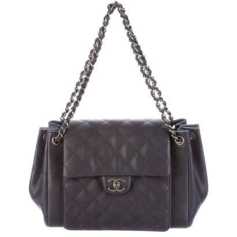 47cf63e22b83 Chanel 2016 Accordion Large Black Calfskin Leather Cross Body Bag ...