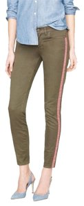 J.Crew Tuxedo Stripe Toothpick Jean Skinny Pants fatigue olive green