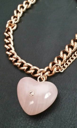 Michael Kors Michael Kors Rose Gold Tone CARVED HEART Pink Rose Quartz Charm Bracel Image 1