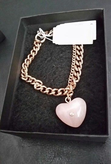 Michael Kors Michael Kors Rose Gold Tone CARVED HEART Pink Rose Quartz Charm Bracel Image 4