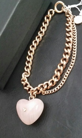 Michael Kors Michael Kors Rose Gold Tone CARVED HEART Pink Rose Quartz Charm Bracel Image 6