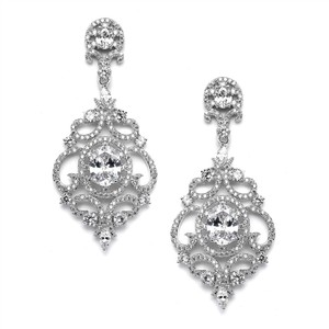 Silver/Rhodium Vintage Style Crystal Statement Earrings