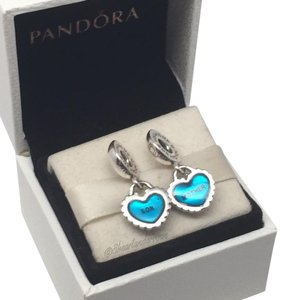 PANDORA Pandora piece of my heart mother son charms original gift pouch