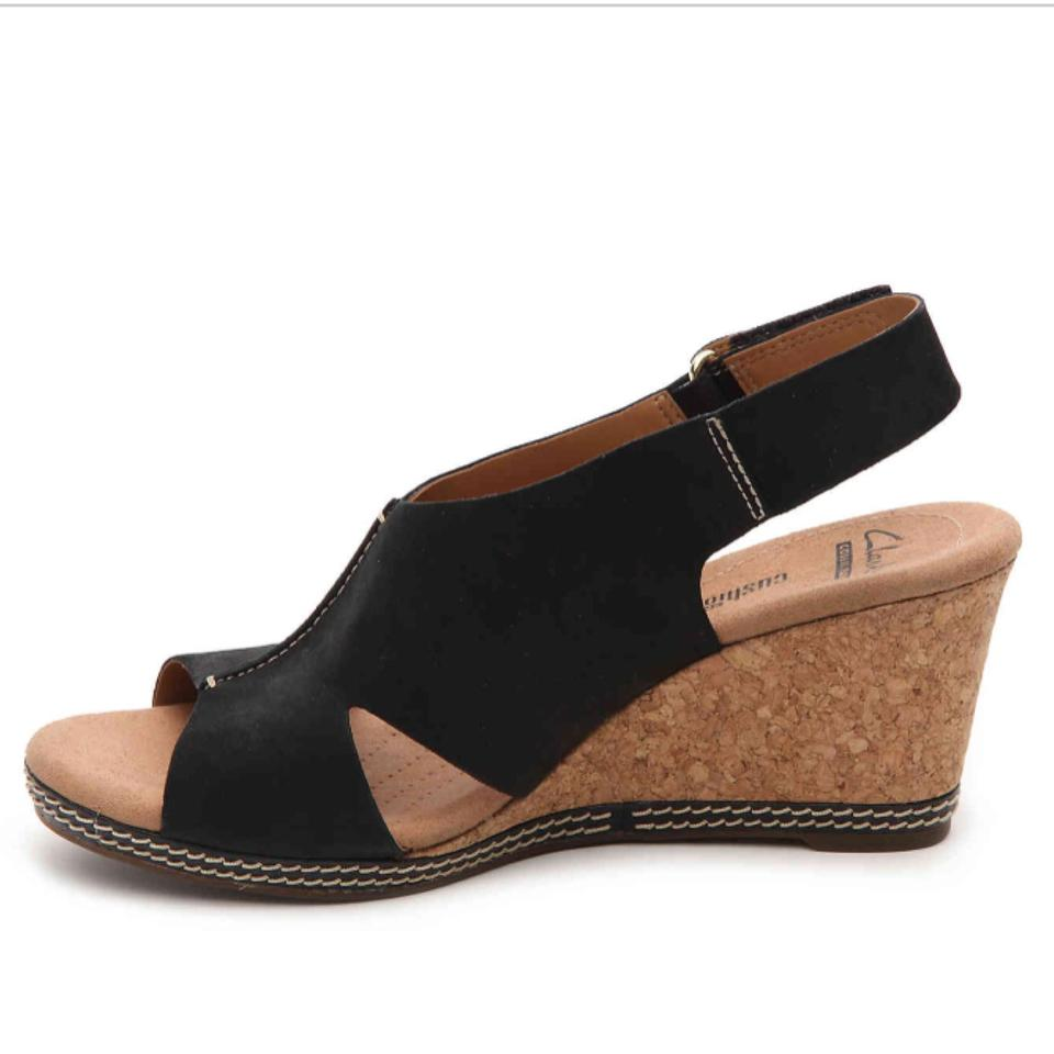 Clarks Helio Float 4 Wedge Black Sandals on Sale, 51% Off ...