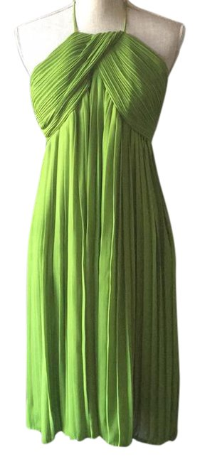 Preload https://item1.tradesy.com/images/due-per-due-green-pleated-mid-length-cocktail-dress-size-14-l-21294465-0-1.jpg?width=400&height=650