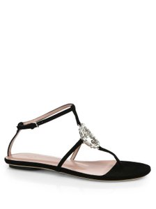 Gucci Swarovski Crystals Embellishments Flats black Sandals