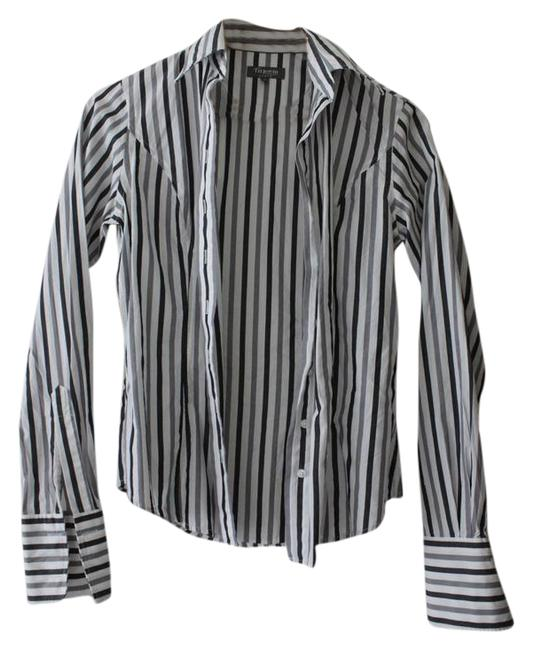 Preload https://item5.tradesy.com/images/black-white-grey-stripe-fitted-collared-shirt-double-cuff-button-down-top-size-4-s-21294539-0-1.jpg?width=400&height=650