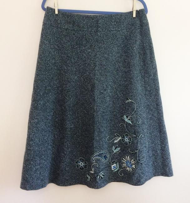 New York & Company Co Embroidery Professional Floral Skirt Gray