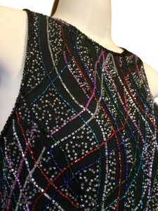 Laurence Kazar Date Night Cocktails Holiday Beaded Top black