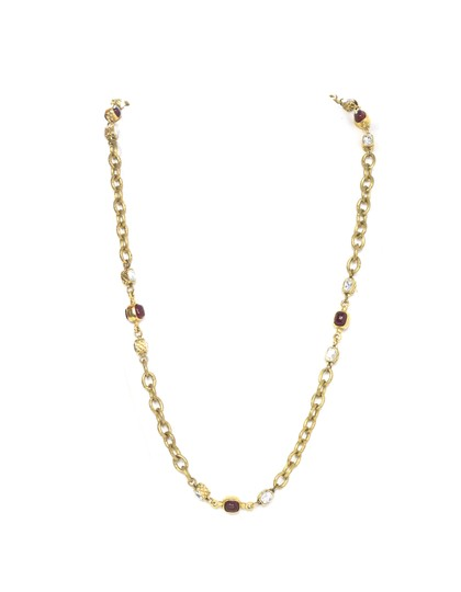 Preload https://item1.tradesy.com/images/chanel-goldtone-and-red-vintage-gold-chain-link-and-gripoix-necklace-21294660-0-0.jpg?width=440&height=440