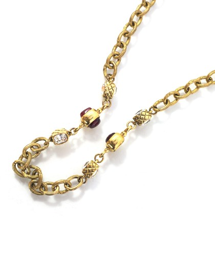 Chanel Chanel Vintage Gold Chain Link & Red Gripoix Necklace