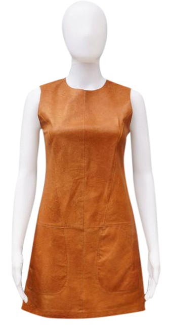 Preload https://item4.tradesy.com/images/vince-caramel-leather-shift-short-casual-dress-size-6-s-21294798-0-1.jpg?width=400&height=650