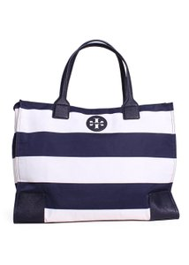 Tory Burch Navy Ella Tote in Blue and White