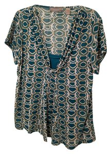 Liz Claiborne 2 For A-line Cap Sleeves Top Teal, Taupe, White Print