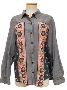 Free People Long Sleeve Collar Button Down Shirt denim red white