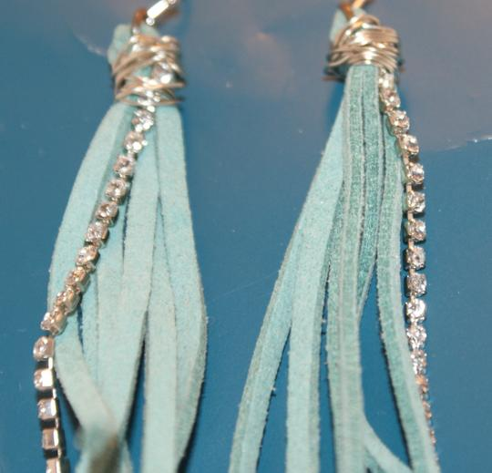 Other Handmade Turquoise Leather and Rhinestone Earrings