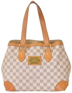 Louis Vuitton Satchel Hampstead Damier Azur Tote in White