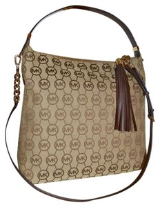Michael Kors Jacquard Handbag Logo Satchel in Brown and Tan MK Monogram
