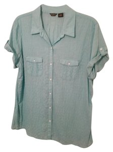Eddie Bauer Cotton Spandex Button Down Shirt Seafoam Green