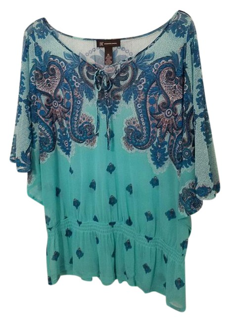Preload https://img-static.tradesy.com/item/21294992/inc-international-concepts-teal-and-light-green-print-dolman-sleeve-tie-front-blouse-size-16-xl-plus-0-1-650-650.jpg
