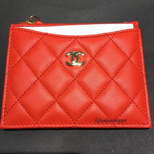 Chanel BN Chanel Classic Card Holder in Red/Orange in Lambskin Leather