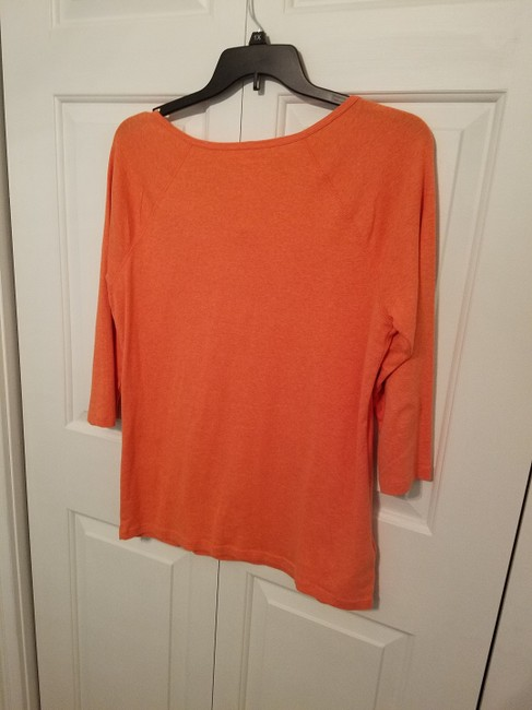 Eddie Bauer Cotton 3/4 Sleeve Snap Front T Shirt Orange