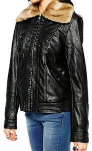 Free People Leather Bomber Moto black Leather Jacket