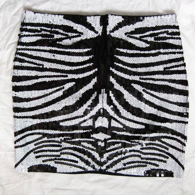 bebe Vintage Trend Mini Skirt Black and White