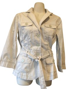 Ann Taylor LOFT Trench Denim Safari Casual ivory Womens Jean Jacket