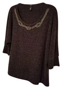 Alfani Dolman Sleeve Scoop Neck Metallic Embelished Sweater