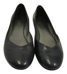 Cole Haan Black embossed leather snake pattern padded insoles Flats