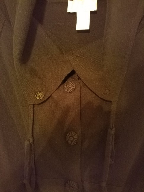 Soft Surroundings Short Sleeve Roll Tab Covered Buttons Fitted Hemline Cardigan