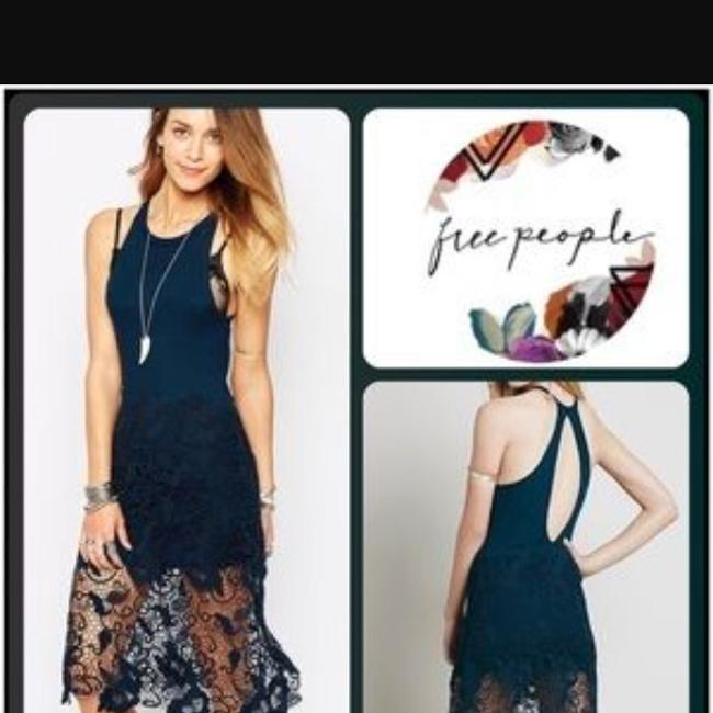 Free People Nora Lace Overlay Racerback Tank Dress Teal Large Dress