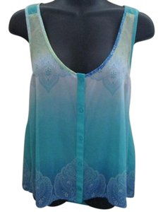 Candie's Hi Lo Flowy Paisley Summer Ombre Top Teal
