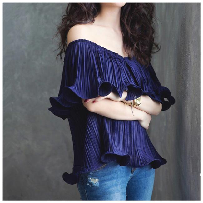 Other Off The Shoulder Ruffle Flounce Top Blue