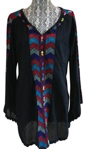Free People short dress black, colorful stitching on Tradesy